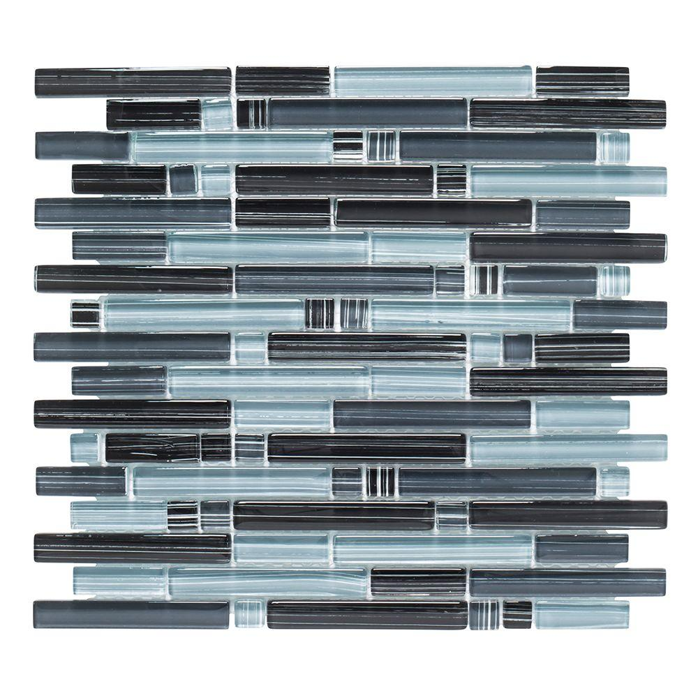 - Jeffrey Court Blue Zephyr Pencil 12 In. X 12 In. X 8 Mm Interlocking Glossy  Glass Mosaic Tile-99172 - The Home Depot