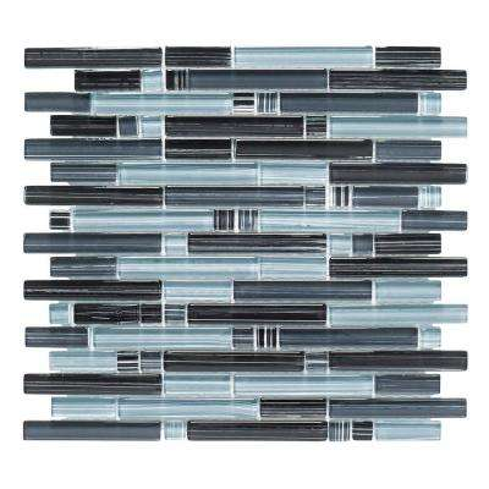 Blue Zephyr Pencil 12 in. x 12 in. x 8 mm Interlocking Glossy Glass Mosaic Tile