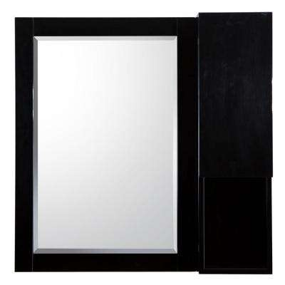 Esley 28 in. L x 28 in. W Wall Hung Mirror in Gloss Black with Side Shelf