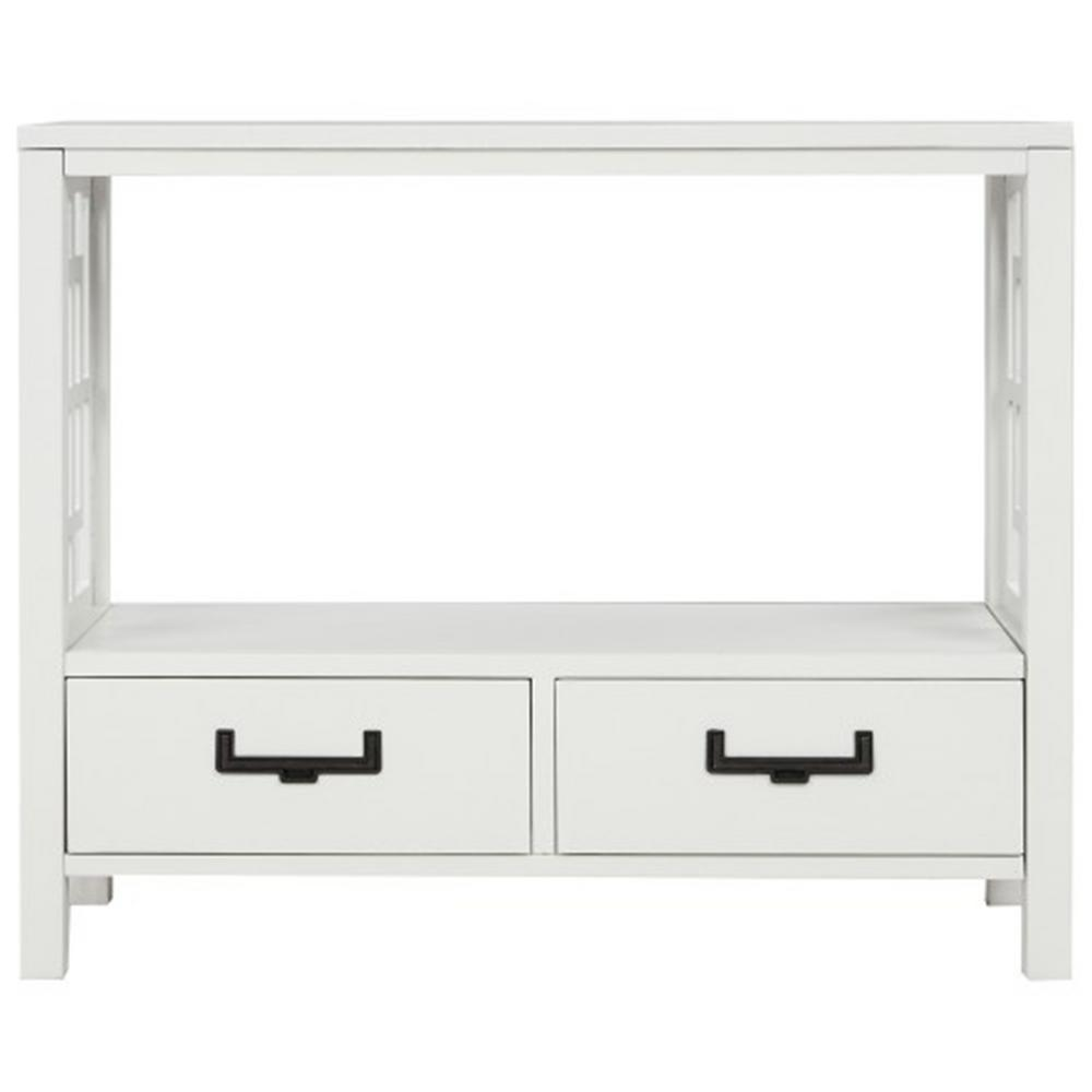TREXM 30 in. White Console Sofa Table with 2-Bottom Drawers, Farmhouse Narrow Sofa Table for Entryway