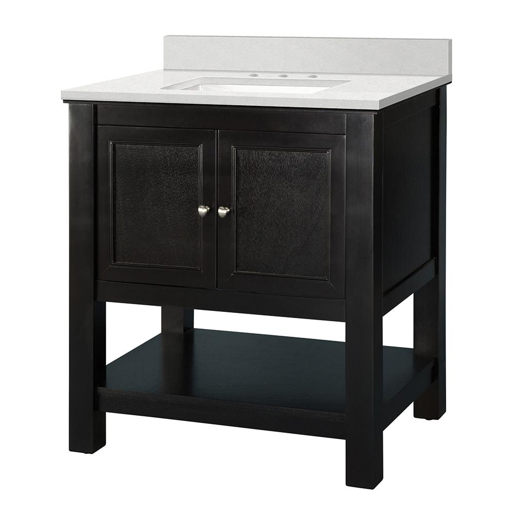 Home Decorators Collection Gazette 31 in. W x 22 in. D Vanity Cabinet in Espresso with Engineered Marble Vanity Top in Snowstorm with White Sink