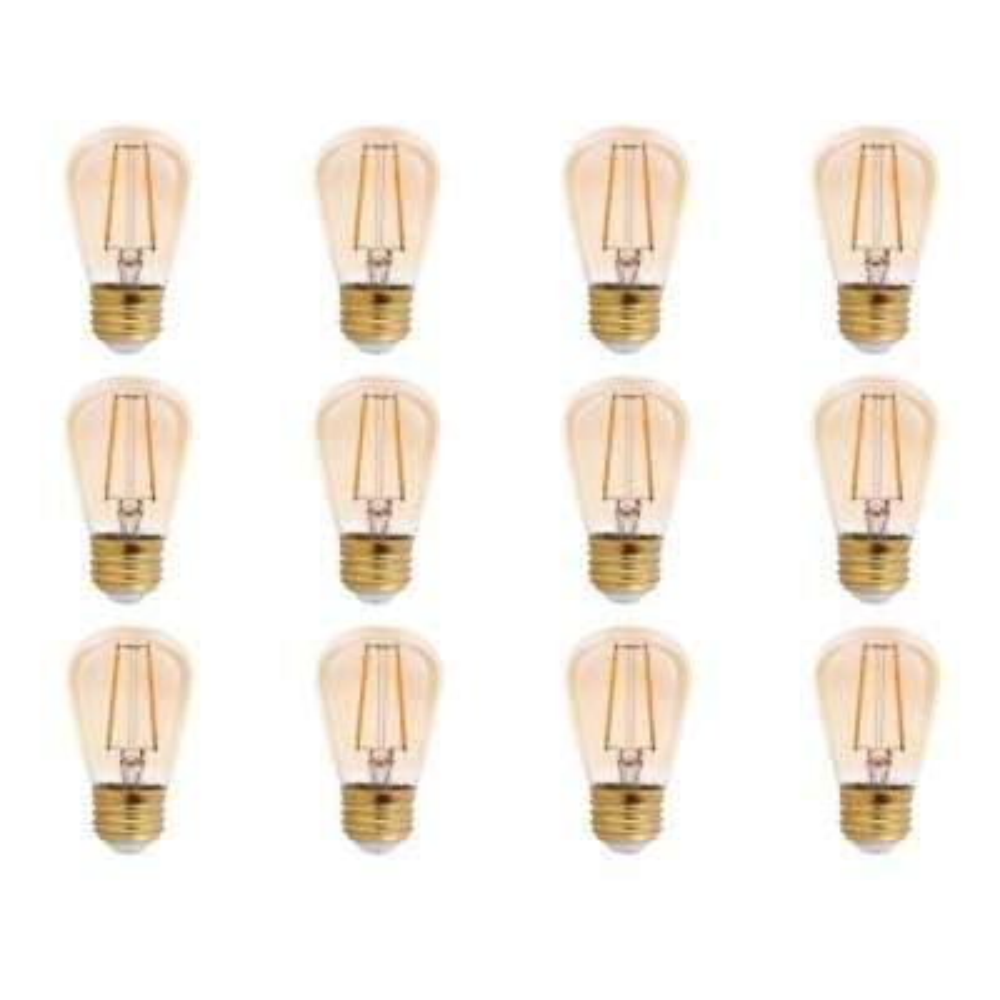25-Watt Equivalent S14 Amber Glass Filament LED Light Bulb Amber 2200K (12-Pack)