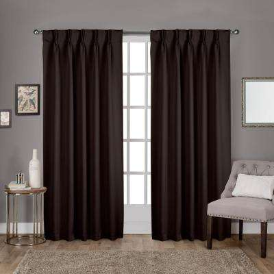 Sateen 30 in. W x 84 in. L Woven Blackout Pinch Pleat Top Curtain Panel in Espresso (2 Panels)
