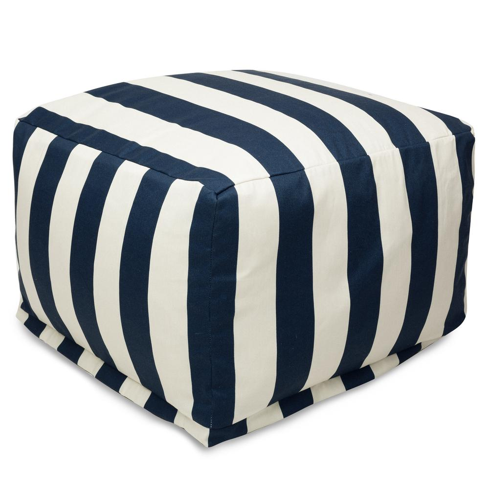 Navy Blue Vertical Stripe Indoor/Outdoor Ottoman Cushion