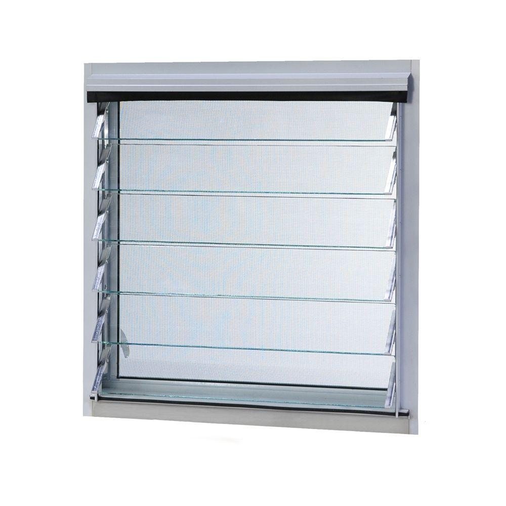TAFCO WINDOWS 12 in. x 24.375 in. Jalousie Utility Louver Awning Aluminum Screen Window in White