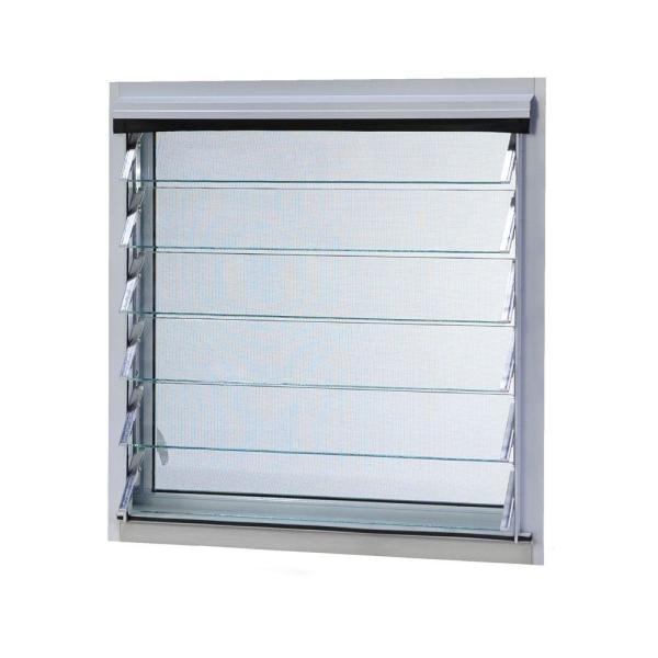 35 in. x 16.375 in. Jalousie Utility Louver Aluminum Screen Window - White