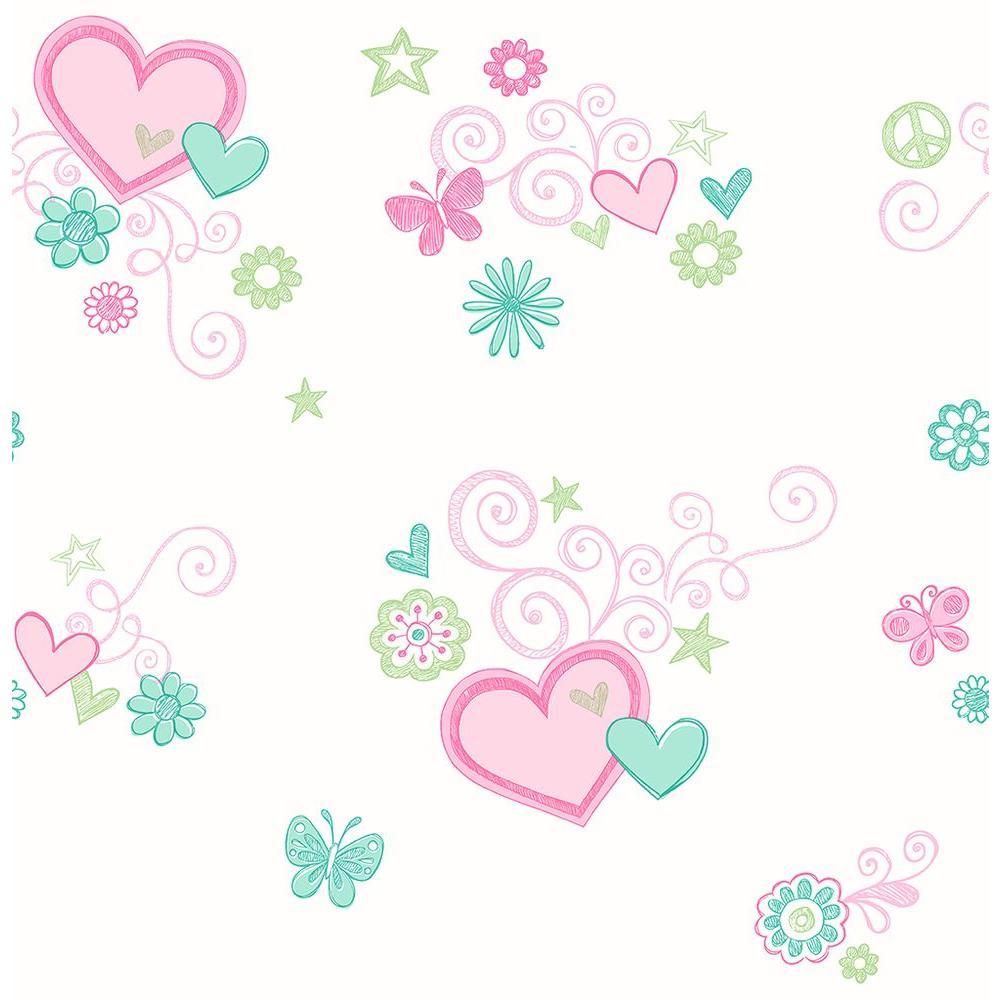 Brewster Green Heart Wallpaper 2679-002153