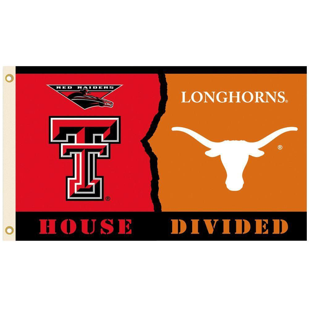 BSI Products NCAA 3 ft. x 5 ft. Texas Tech/Texas Rivalry House Divided Flag