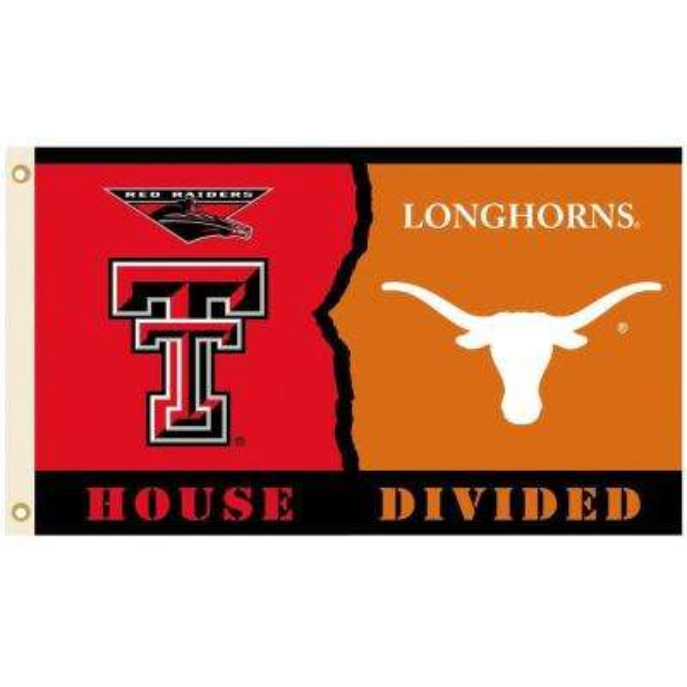 NCAA 3 ft. x 5 ft. Texas Tech/Texas Rivalry House Divided Flag