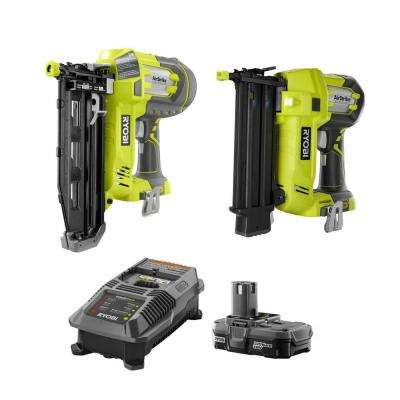 18-Volt ONE+ Lithium-Ion Cordless AirStrike 18-Gauge Brad Nailer and 16-Gauge Straight Finish Nailer 2-Tool Combo Kit