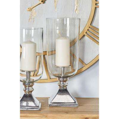 Clear Glass Candle Holder with Aluminum Base