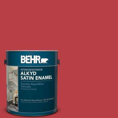 1 gal. #HDC-MD-16 Cherry Red Satin Enamel Alkyd Interior/Exterior Paint