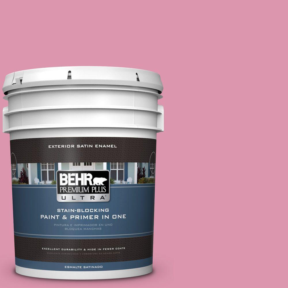 BEHR Premium Plus Ultra 5-gal. #110B-4 Foxy Pink Satin Enamel Exterior Paint