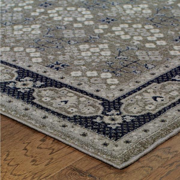 Rydal Grey Navy 5 Ft X 8 Ft Border Area Rug 993562 The Home Depot