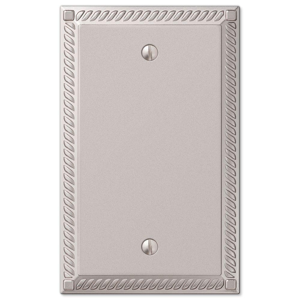 Georgian 1 Gang Blank Metal Wall Plate - Satin Nickel