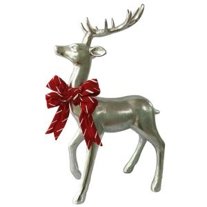 17 in. Christmas Morning Silver Sitting Reindeer with Bow