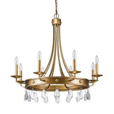 Krista 8-Light Indoor Antique Gold Chandelier with Crystal Pendants