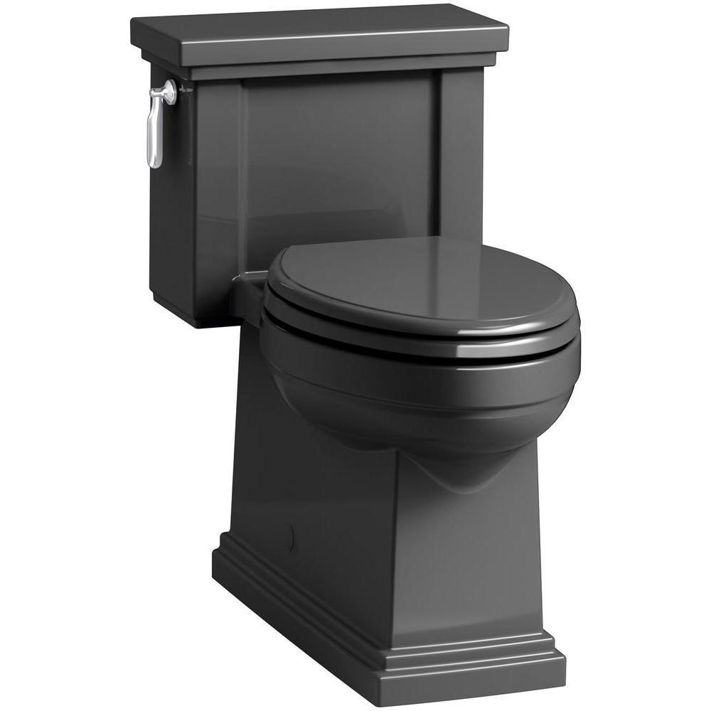 Tresham 1-piece 1.28 GPF Single Flush Elongated Toilet in Black Black