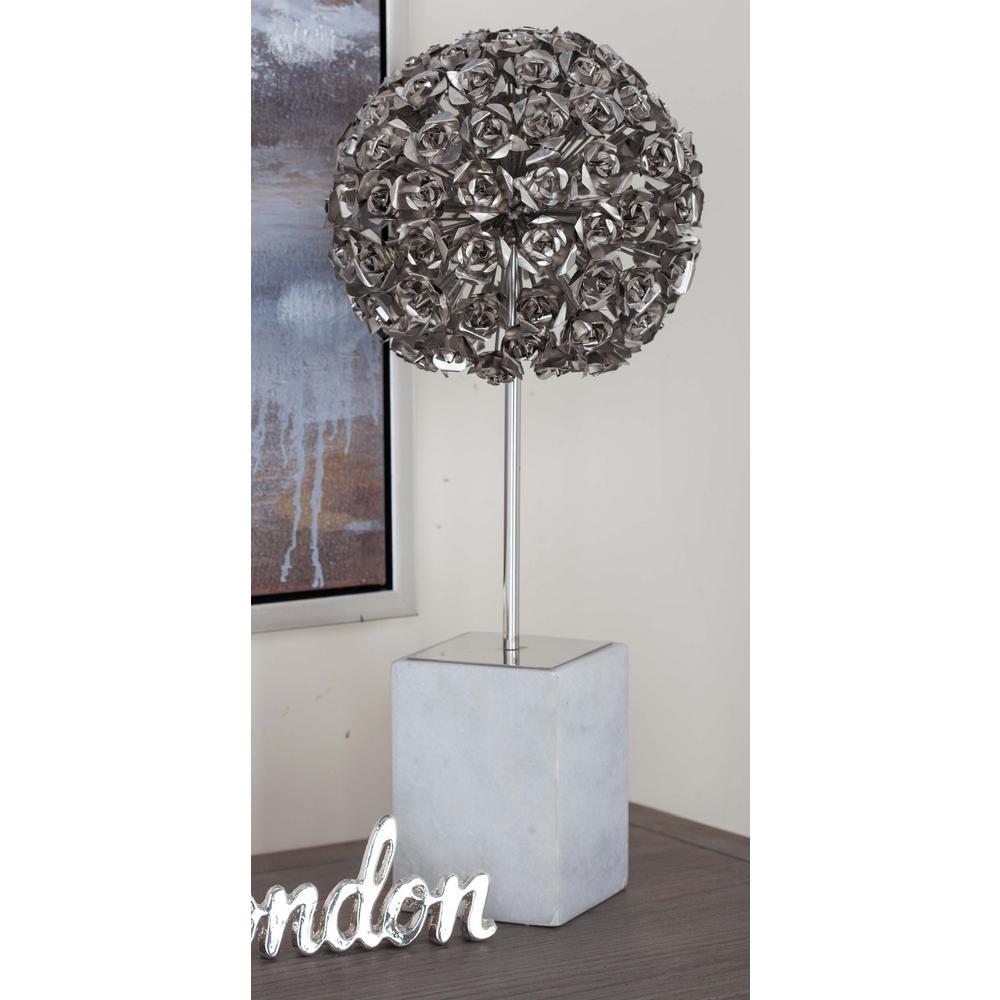 19 in. Rose Ball Decorative Sculpture in Silver