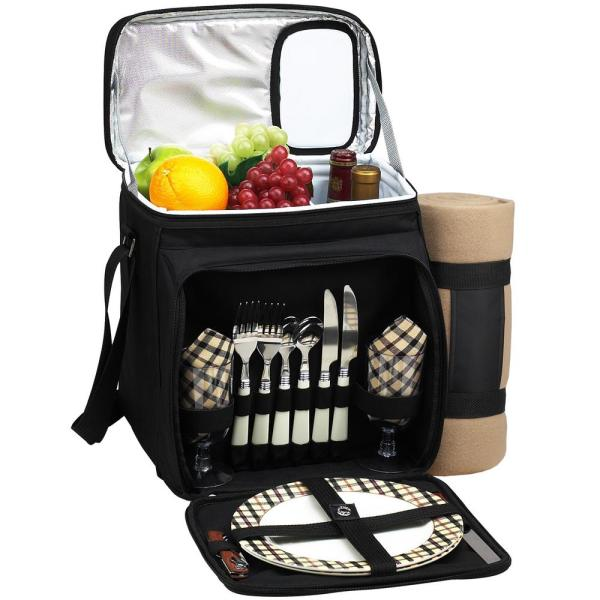 undefined Picnic Basket and Cooler Equipped for 2 with Blanket in Black and London