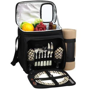 Picnic Basket and Cooler Equipped for 2 with Blanket in Black and London by
