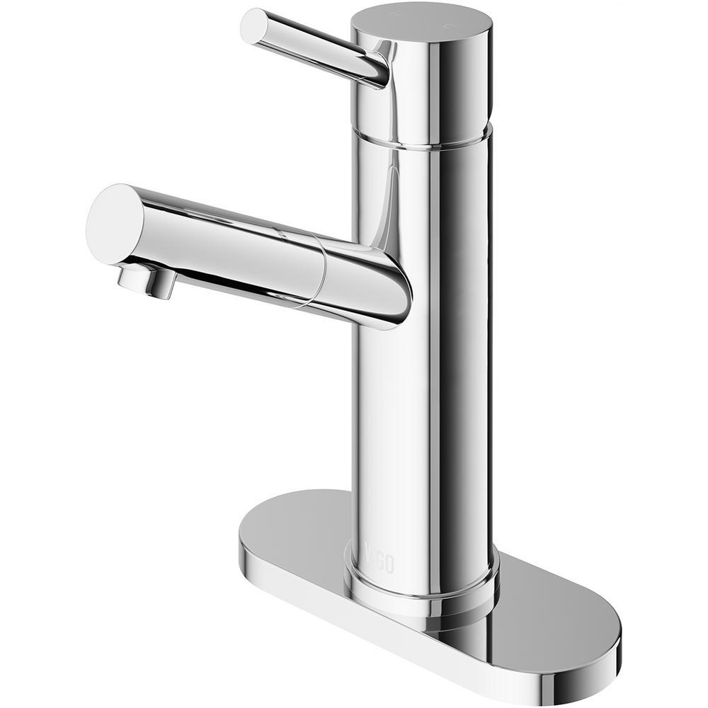 VIGO Noma Single Hole Single-Handle Bathroom Faucet in Chrome with Deck Plate