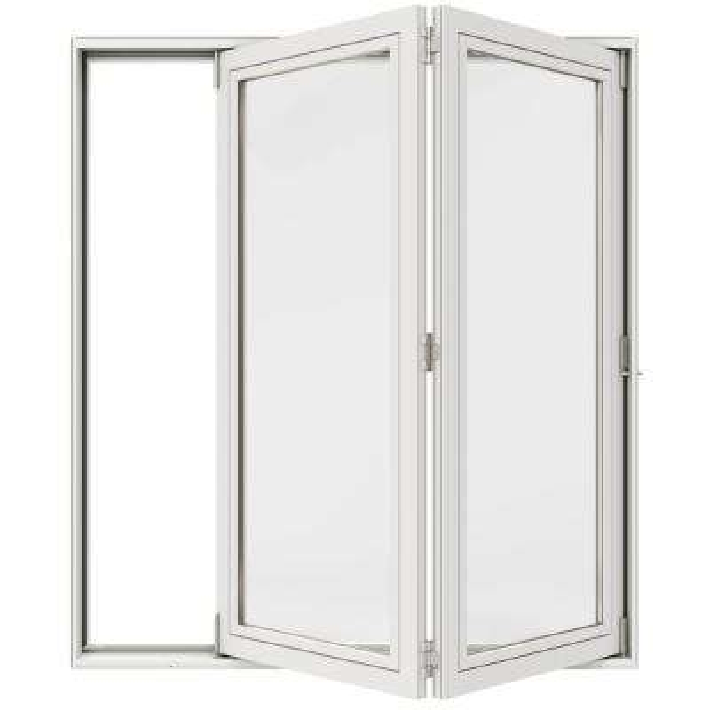 72 in. x 80 in. Primed Left-Hand Full Lite F-2500 Fiberglass 2-Panel Folding Patio Door Kit w/ Retractable Screen