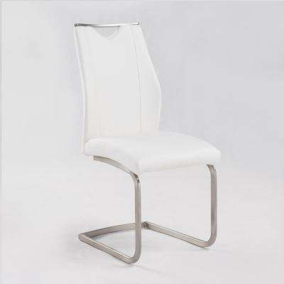 Bravo 39 in. White Faux Leather and Brushed Stainless Steel Finish Contemporary Dining Chair (Set of 2)