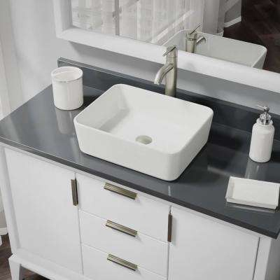 Porcelain Vessel Sink in Biscuit with 7001 Faucet and Pop-Up Drain in Brushed Nickel