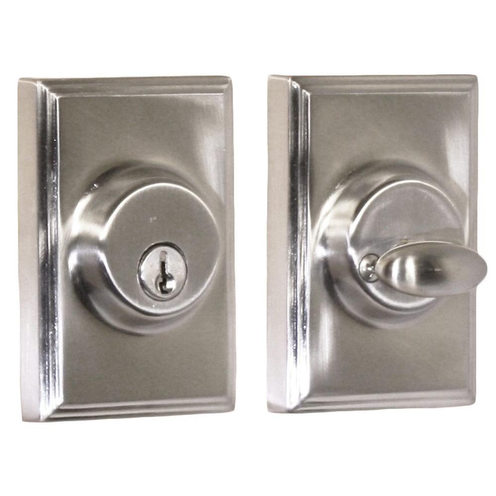 Elegance Single Cylinder Satin Nickel Woodward Deadbolt
