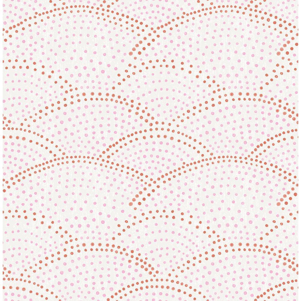 Genius Bennett Pink Dotted Scallop Wallpaper