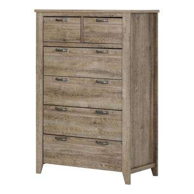 Lionel 6-Drawer Weathered Oak Chest