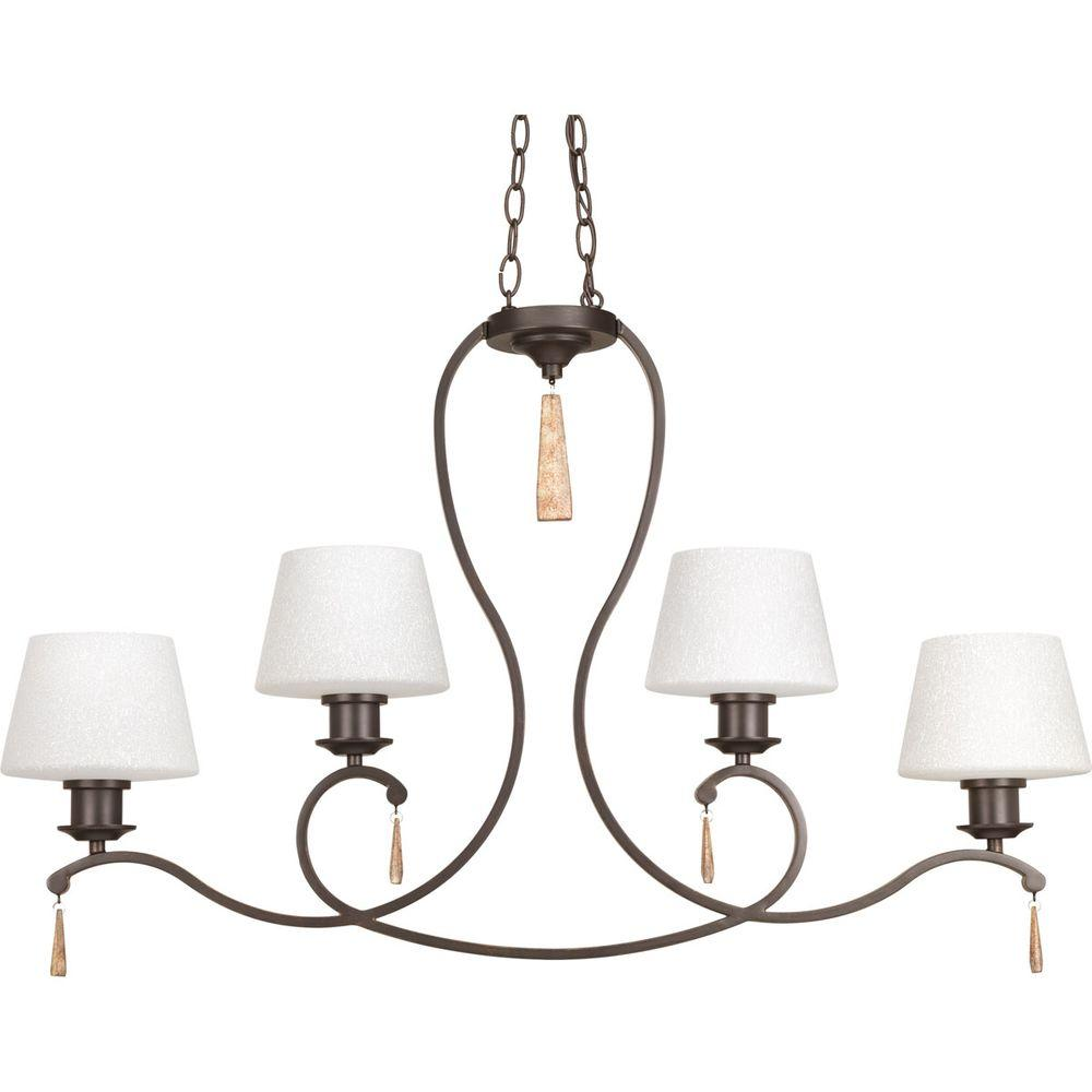 Club Collection 4-Light Antique Bronze Chandelier with Shade with Tea-Stained