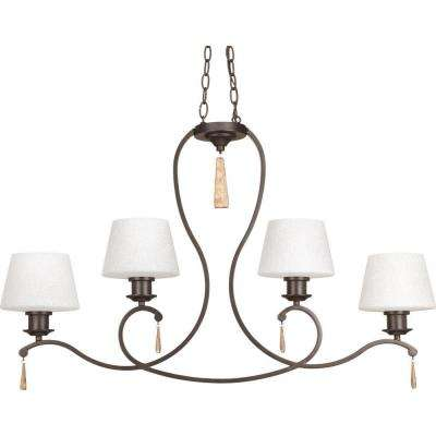 Club Collection 4-Light Antique Bronze Chandelier with Shade
