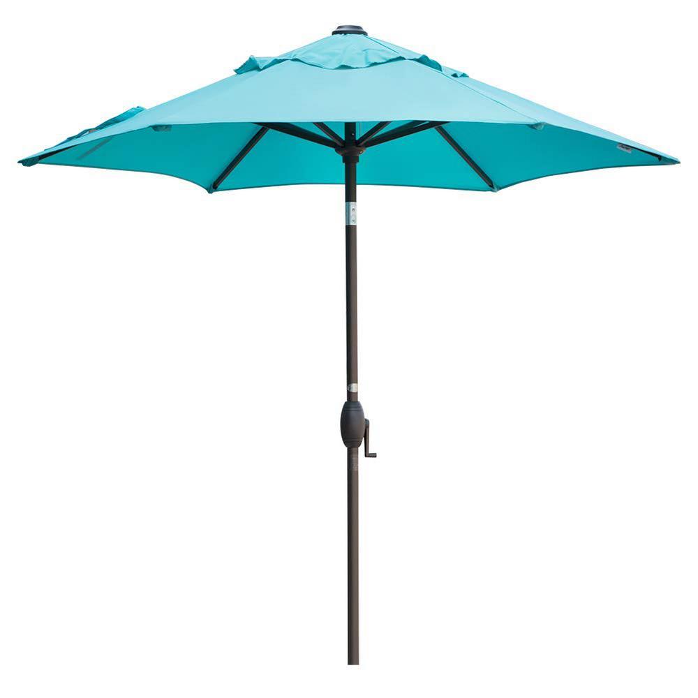 7-1/2 ft. Aluminum Market Push Button Tilt and Crank Patio Umbrella in Turquoise