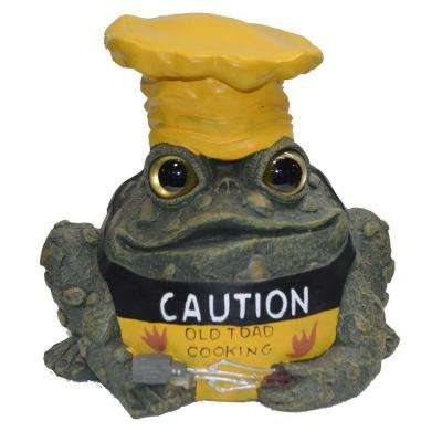 8-1/2 in. Caution-Old Toad Cooking Garden Statue