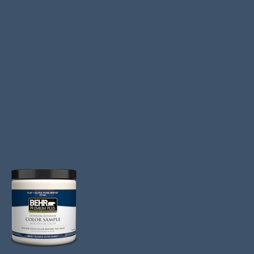 BEHR Premium Plus Home Decorators Collection 8 oz. #HDC-SM14-7 Midnight Mosaic Flat Interior/Exterior Paint and Primer in One Sample
