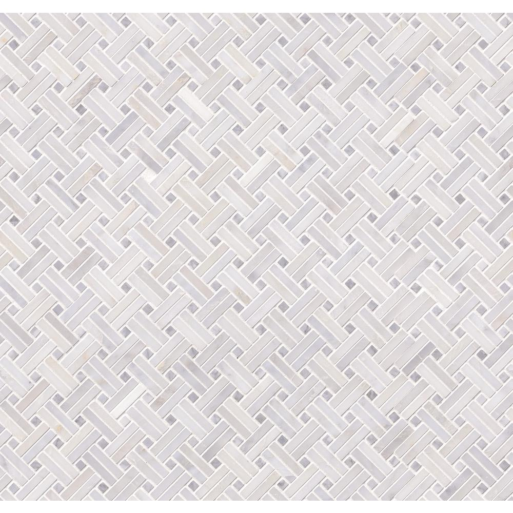 MSI Greecian White Double Basket Weave 12 in. x 12 in. x 10mm Polished Marble Mesh-Mounted Mosaic Tile (10 sq. ft. / case)