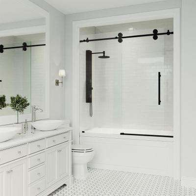 Elan 60 in. W x 66 in. H Frameless Sliding Tub Door in Matte Black