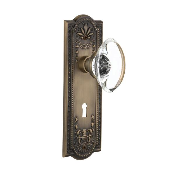 Nostalgic Warehouse Meadows Plate With Keyhole 2 3 4 In Backset Antique Brass Privacy Bed Bath Oval Clear Crystal Glass Door Knob 718415 The Home Depot