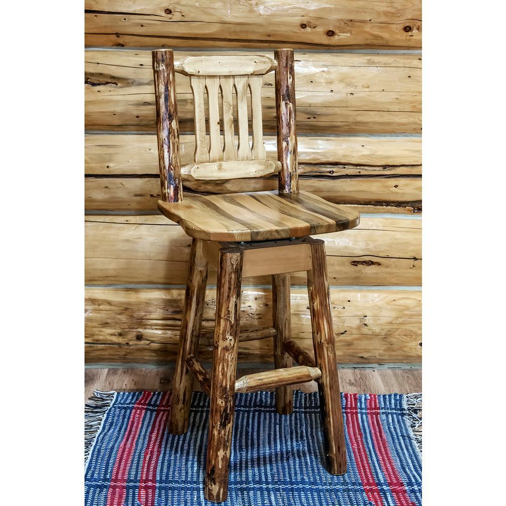 Glacier Country 30 in. Medium Brown Puritan Pine Swivel Bar Stool