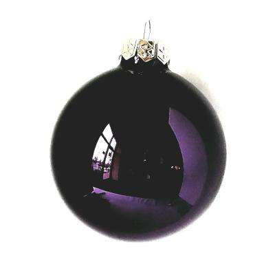 3 25 In Purple Shiny Glass Christmas Ornaments 8 Pack