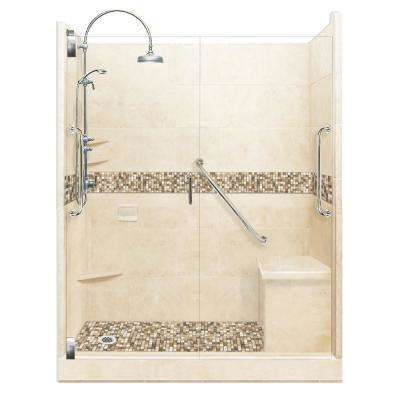 Roma Freedom Luxe Hinged 34 in. x 60 in. x 80 in. Left Drain Alcove Shower Kit in Desert Sand and Satin Nickel Hardware