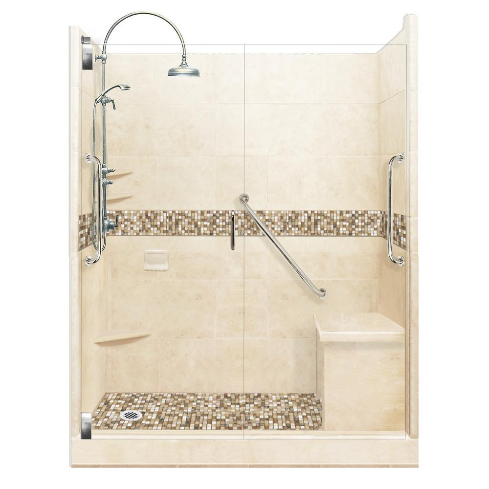 American Bath Factory Roma Freedom Luxe Hinged 42 in. x 60 in. x 80 in. Left Drain Alcove Shower Kit in Desert Sand and Chrome Hardware
