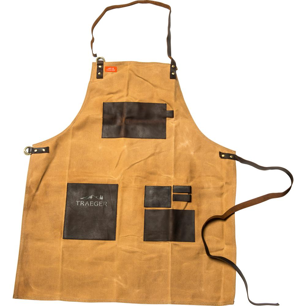 Traeger Apron - Brown Canvas & Leather-APP196 - The Home Depot