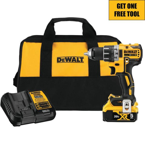 20-Volt MAX XR Cordless Brushless 1/2 in. Drill/Driver with (1) 20-Volt 5.0Ah Battery, Charger and Tool Bag