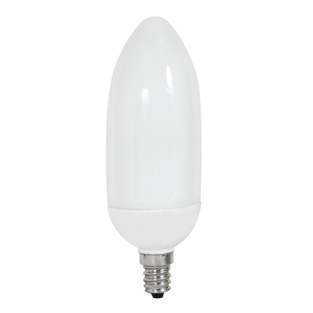 40W Equivalent Daylight Decorative B10 Candelabra CFL Light Bulb (3-Pack)
