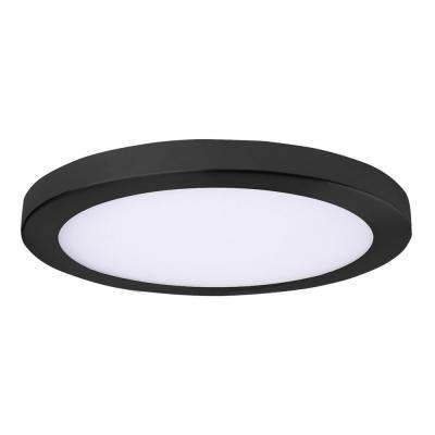 Round Slim Disk Length 11 in. Black New Construction Recessed Integrated LED Trim Kit Round Fixture 3000K Warm White