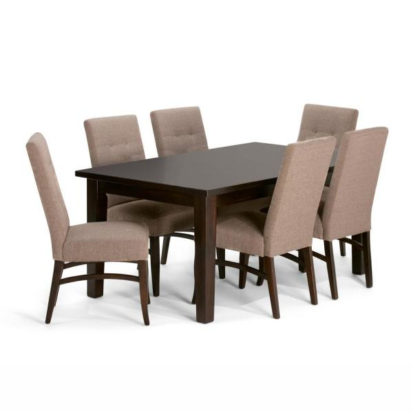 Simpli Home Ezra 7-Piece Dining Set With 6 Upholstered