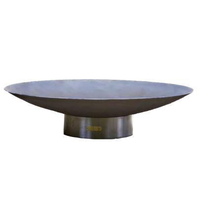 Bella Vita 46.5 in. x 12 in. Round Wood Fire Pit in Stainless Steel